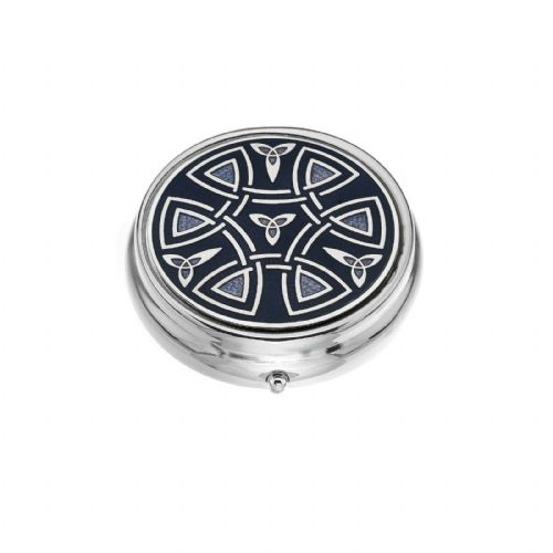 Large Pill Box Silver Plated Celtic Trinity and Coils Blue Brand New & Boxed